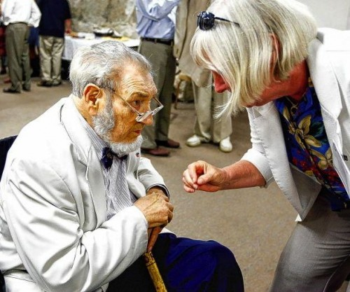 Koop listens to Betsey Stefany, of Hanover, who greets him after his speech at Lebanon College on July 2011. (Valley News - Polina Yamshchikov)