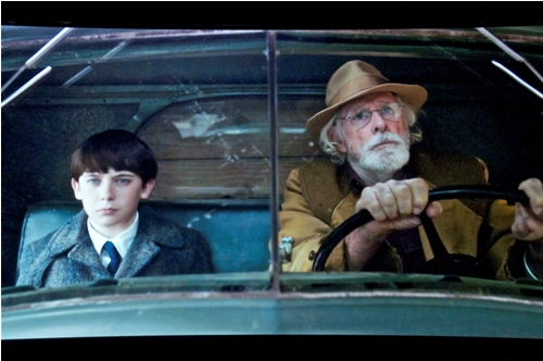 "Instatepix3: From left, grandson and grandfather, both named Austen Kittredge, played by Seamus Davey-Fitzpatrick and Bruce Dern take the pick-up truck drive back from the railroad station in an opening scene of ""Northern Boundaries."""