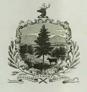 A version of the coat of arms as found on a proclamation issued by Gov. John W. Stewart in 1870. Photograph courtesy of State of Vermont Archives.