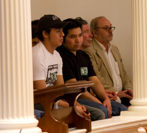 Undocumented dairy farm workers and advocates look on as the Vermont House debates extending driving rights to their community, on May 6, 2013. Photo by Nat Rudarakanchana