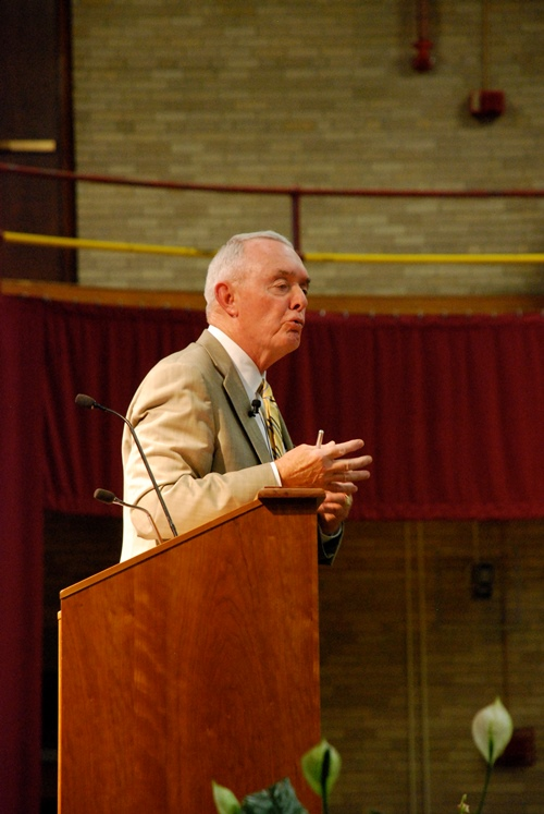 "Retired U.S. Army Gen. Barry McCaffrey speaking at a lecture titled ""Leadership of Complex Organizations"" in the Plumley Armory at Norwich University on Tuesday. Photo by John Herrick/VTDigger"