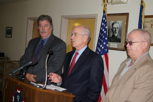 "Vermont's director of veteran services Richard Reed, left, Rep. Peter Welch and Bob Nicodemus, who works with disabled veterans,  voice support for the ""21st Century Health Care for Heroes Act."""
