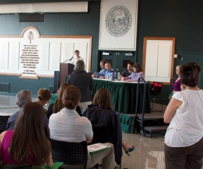 About 200 farmers and farm advocates spoke to officials from the FDA about proposed food safety regulations at the Hopkins Center at Dartmouth College in Hanover, N.H., on Tuesday.  Photo by Viola Gad/VTDigger
