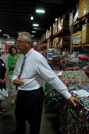 David Larose, Vermont and New York state manager for Coca Cola of Northern New England, toured the company's Colchester facility Thursday during an Expo in which the company showcased its latest recycling program. Photo by John Herrick/VTDigger