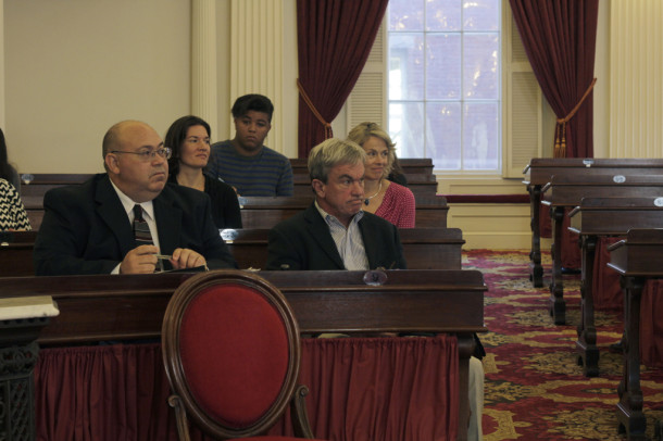 Charles Biss, right, Charles Biss, director of the Child, Adolescent and Family Unit of the Vermont Department of Mental Health, listens to testimony at the Legislature's Mental Health Oversight Committee hearing on Wednesday. Photo by Viola Gad/VTDigger