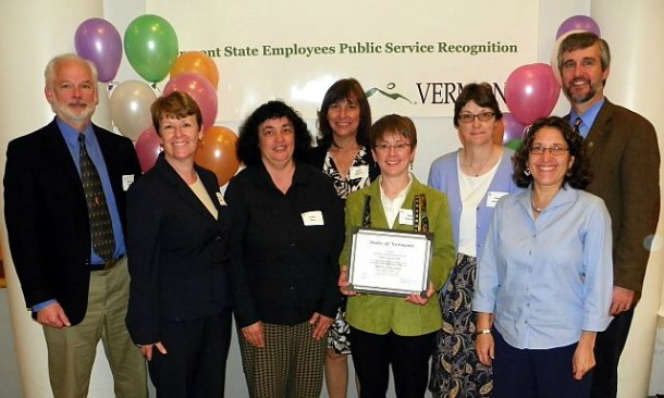 The Vermont e-cycles Team was selected and recognized at the 2012 Vermont Public Service Recognition ceremony held on May 7, 2012. Pictured here: Karen Knaebel, Kim Lutchko, Barb Schwendtner, Cathy Stacy, Cathy Jamieson, Matt Chapman. Photo courtesy Good Point Recycling.
