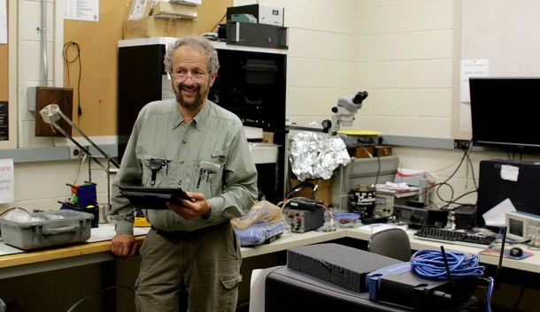 Carl Brandon, professor of Science and Aeronautical Engineering Technology at Vermont Technical College, engineered and built a small satellite that will be launched to make navigation estimates for a future lunar project. Photo by Viola Gad/VTDigger