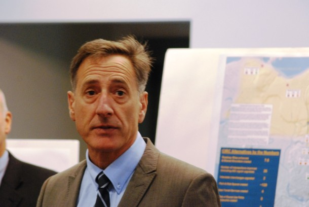 Gov. Peter Shumlin announced a three-phase infrastructure investment plan across Chittenden County during a news conference Tuesday at Williston Town Hall. Photo by John Herrick/VTDigger