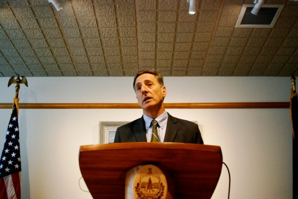 Gov. Peter Shumlin announced an early start college degree program for high school seniors during a news conference in Montpelier on Thursday. Photo by John Herrick/VTDigger