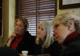 Reps. Carolyn Branagan, R-Georgia, Janet Ancel, D-Calais, and Alison Clarkson, D-Woodstock, listen to a presentation on student-staff ratios in Vermont public schools. Photo by Hilary Niles/VTDigger