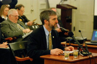 David Mears, commissioner of the Department of Environmental Conservation, testified before lawmakers in February on the state's plan to restore Lake Champlain's water quality. Photo by John Herrick/VTDigger