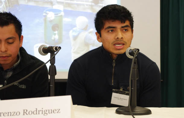 Lorenzo Rodriguez, who works on a farm in Vermont, speaks at immigration reform panel Tuesday at Vermont Law School. Photo by Laura Krantz/VTDigger