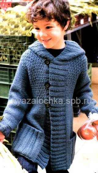 вязаное детское пальто спицами