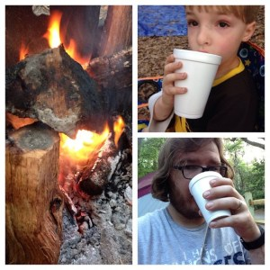 My son and I enjoy coffee around the camp fire.
