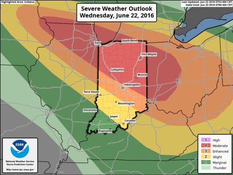 Indiana map showing severe weather risk level categories for June 22, 2016