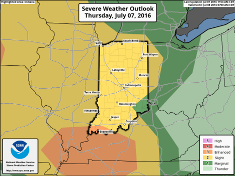 """Indiana map showing risk of severe weather between 12:30 p.m. EDT today and 8 a.m. EDT tomorrow. Source: SPC """"Day 1 Convective Outlook"""" issued at 12:54 p.m. EDT."""
