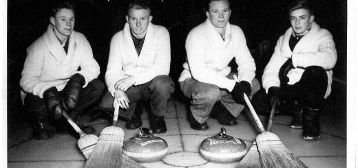 Wadena High School curling team, 1950-51: (left to right) Bob Washington, Ken VanOs, Vern Campbell and Austin Creswell. (Photo courtesy Ken VanOs)