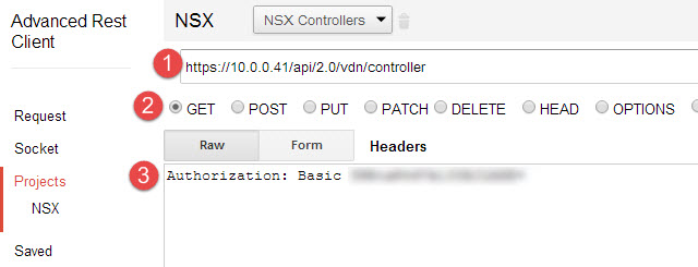 A GET call to query the controllers in NSX