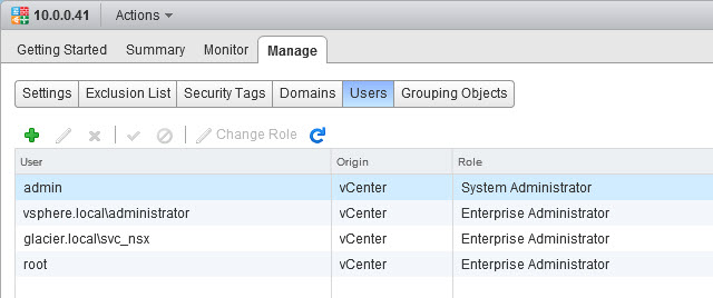 Out of the box users configured for NSX