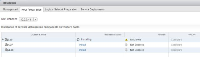 Cluster status during the install