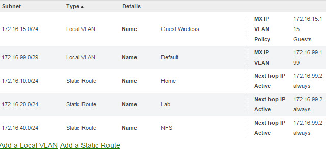 Meraki VLANs and Routes
