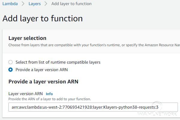 Using the Lambda Layer ARN to provide additional module functionality.