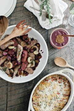Roasted Summer Sausages with Red Wine Grape Mustard