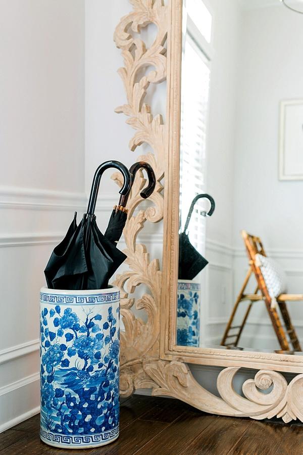 Ginger jar umbrella stand and entryway essentials via Waiting on Martha