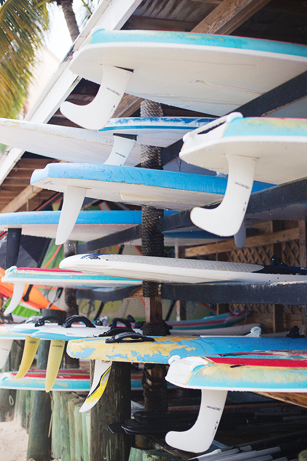 Colored surfboards on St. John