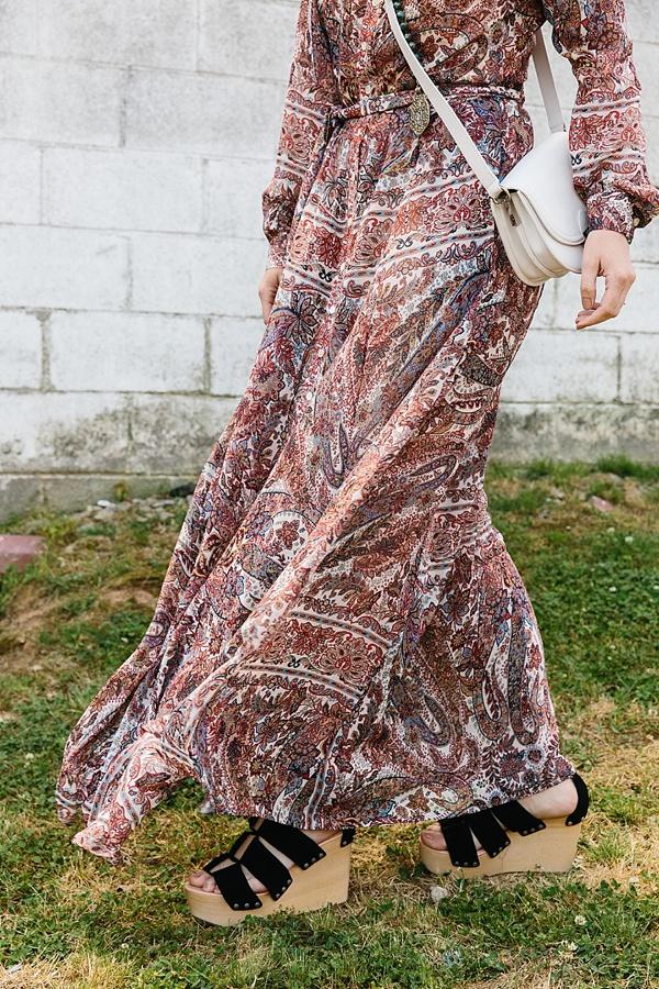 Paisley maxi dress with Loeffler Randall black platform wedges via Waiting on Martha