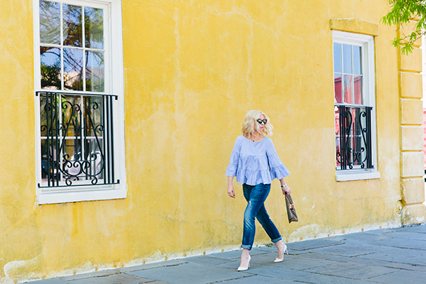 MDS Stripes blue ruffle top and boyfriend jeans with white heels
