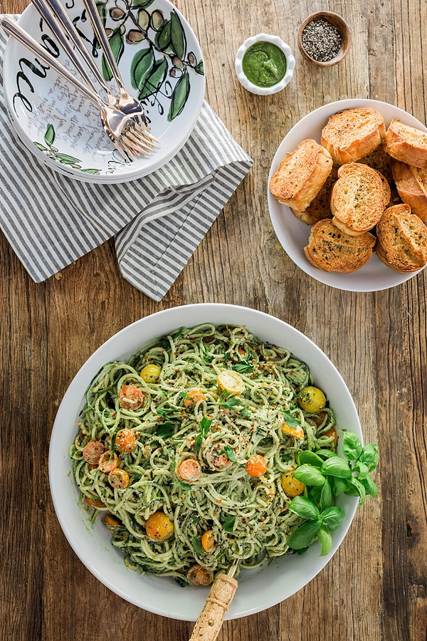 Zoodles with Vegan Pesto Sauce and Heirloom Cherry Tomatoes, recipe by @waitingonmartha