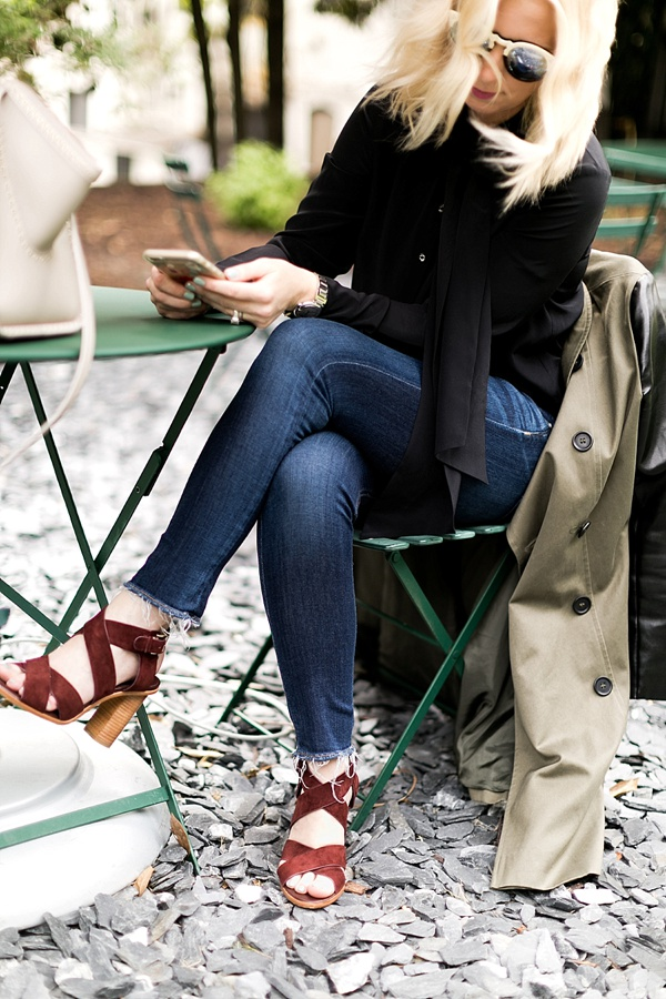Burgundy heel sandals with frayed jeans and black blouse, Waiting on Martha