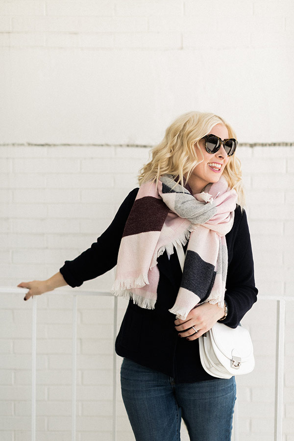 Pink blanket scarf with black sweater, @waitingonmartha