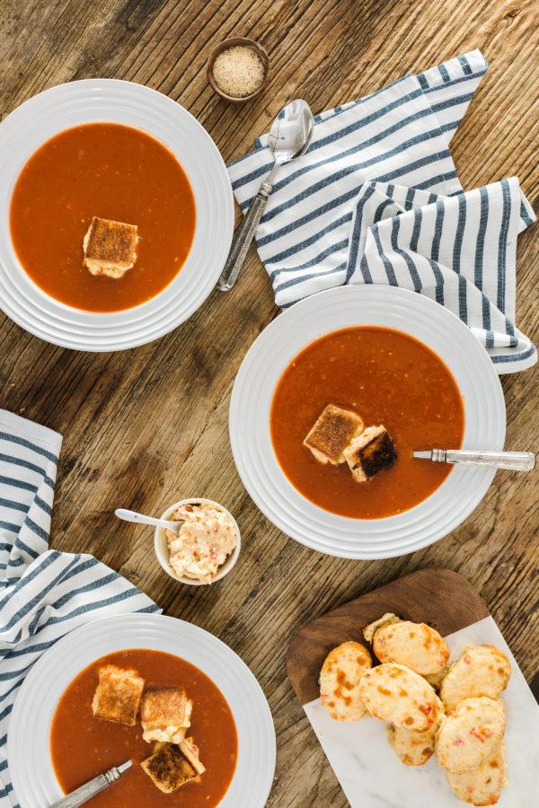 Roasted tomato soup with grilled pimento cheese bites, @waitingonmartha @kitchenaidusa #spon #recipe
