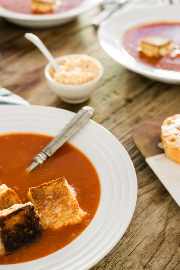Roasted Tomato Soup with Grilled Pimento Cheese Bites, recipe by @ ...
