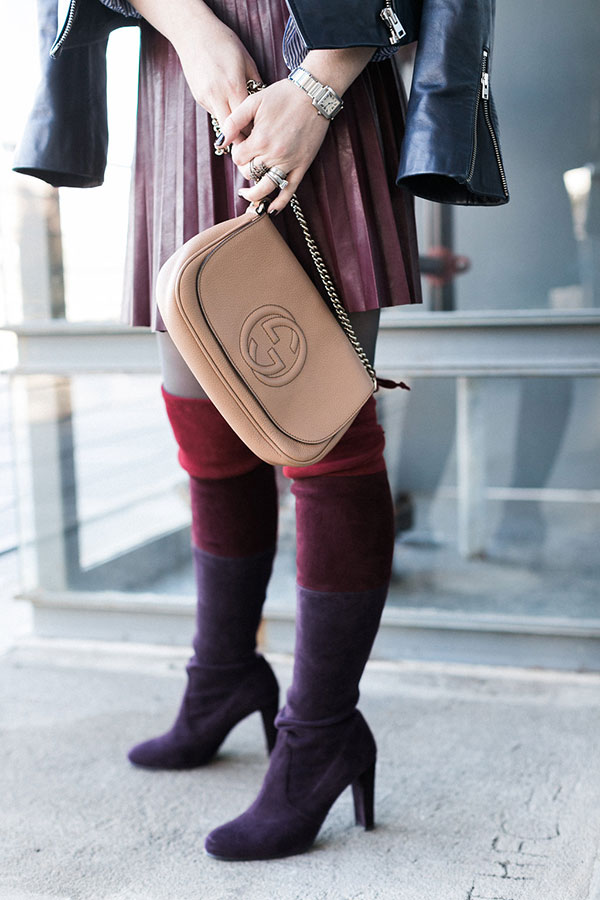 Gucci bag with Stuart Weitzman over the knee boots, @waitingonmartha