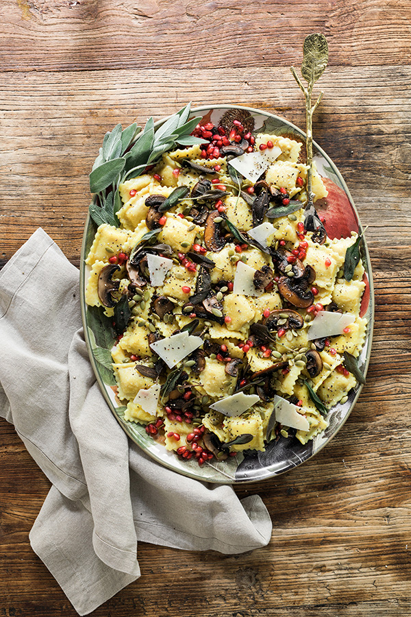 Brown Butter Butternut Squash Ravioli with Fried Sage, Mushrooms, Pomegranate and Pumpkin Seeds