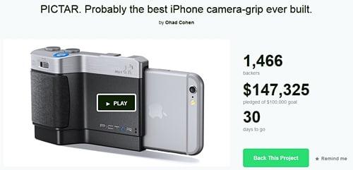 iPhone用カメラグリップ「Pictar」トップ画像
