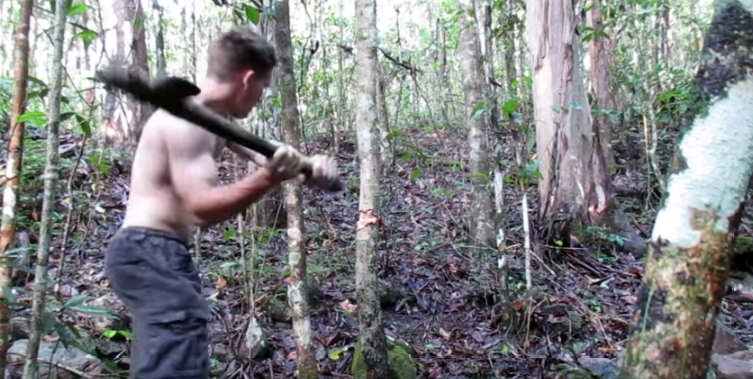 Chopping tree with stone axe