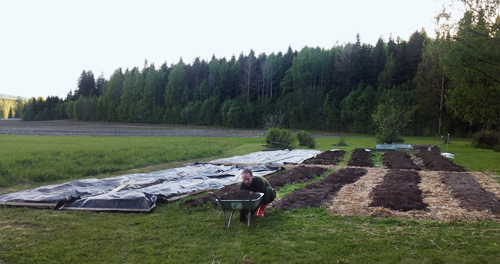 That's me earlier this year finishing up the no-dig growing beds. A one-time input of energy and resources that I won't have to do ever again (except for when creating even more beds).