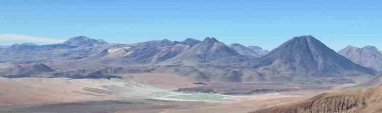 View of the altiplano and other volcanoes