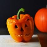 Spooky Stuffed Peppers {Vegetarian, Gluten-free}