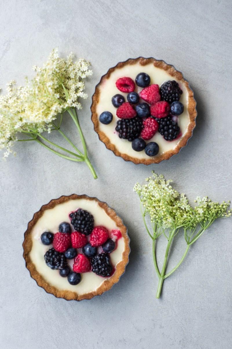 Elderflower & Berry Tarts (Vegan & Grain-free)