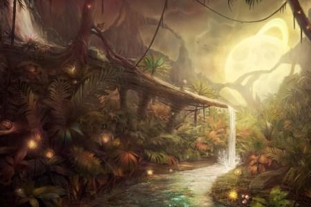 33555 nature jungles artwork fantasy art concept art water moon lights plants