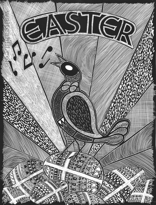 Easter Scraperboard Illustration (detailed)