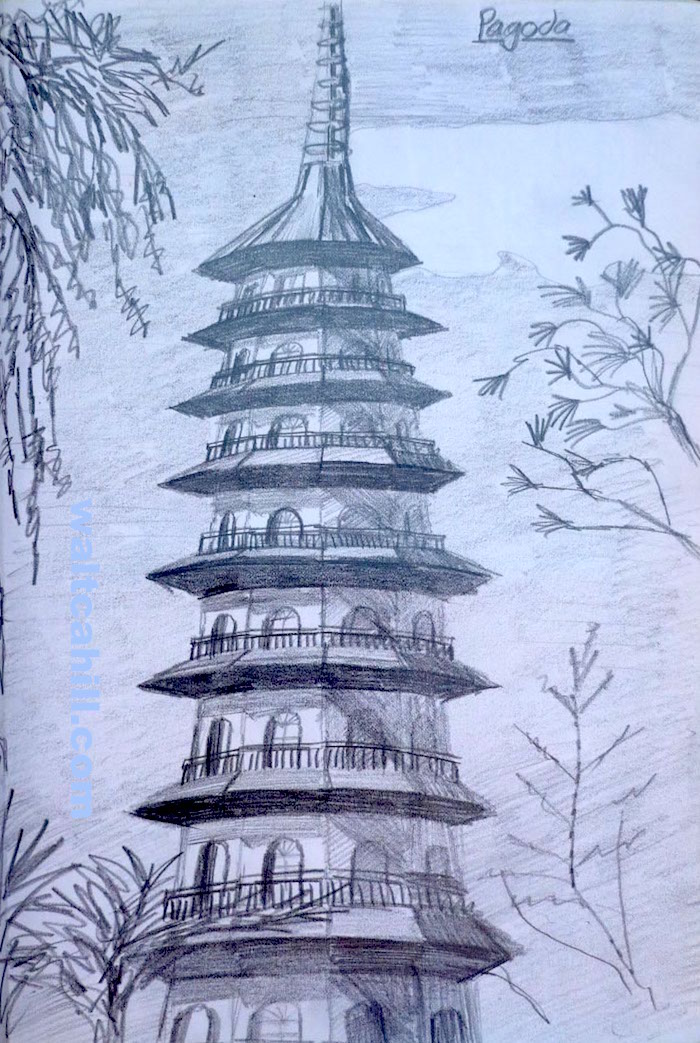 The Pagoda in Kew Gardens (graphite)