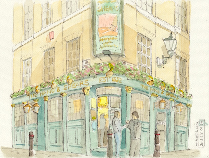 The Hand & Shears Pub in watercolour