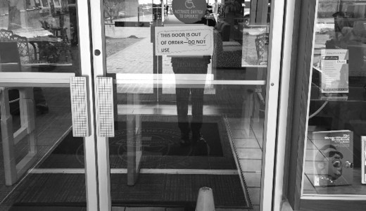 """This photo of the broken Warner Library door was posted on the GoFundMe page along with this caption: """"Allowing the door to remain broken is the moral equivalent of breaking it ourselves."""""""