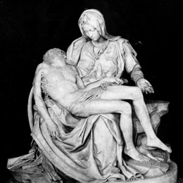 "Michelangelo's ""Pietà"" depicts Mary holding the dead body of Christ."